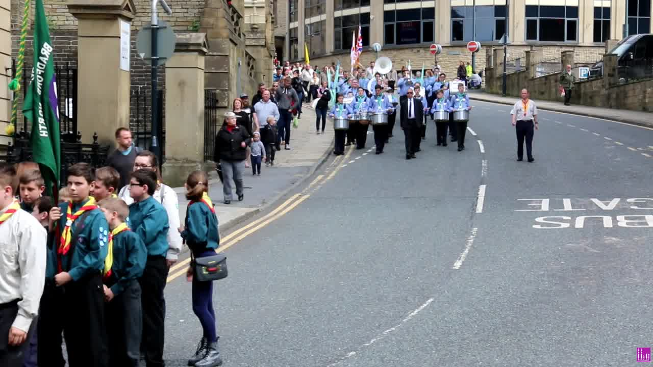 Wonderful day for a parade for St Georges day in Bradford City